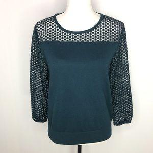 Ann Taylor Loft Green Lace Sleeve Sweater Sz Med